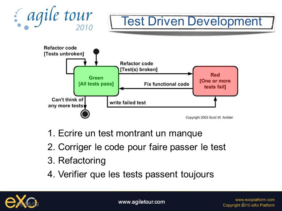 4 www.agiletour.com 05/05/09 Test Driven Development 1.Ecrire un test montrant un manque 2.Corriger le code pour faire passer le test 3.Refactoring 4.