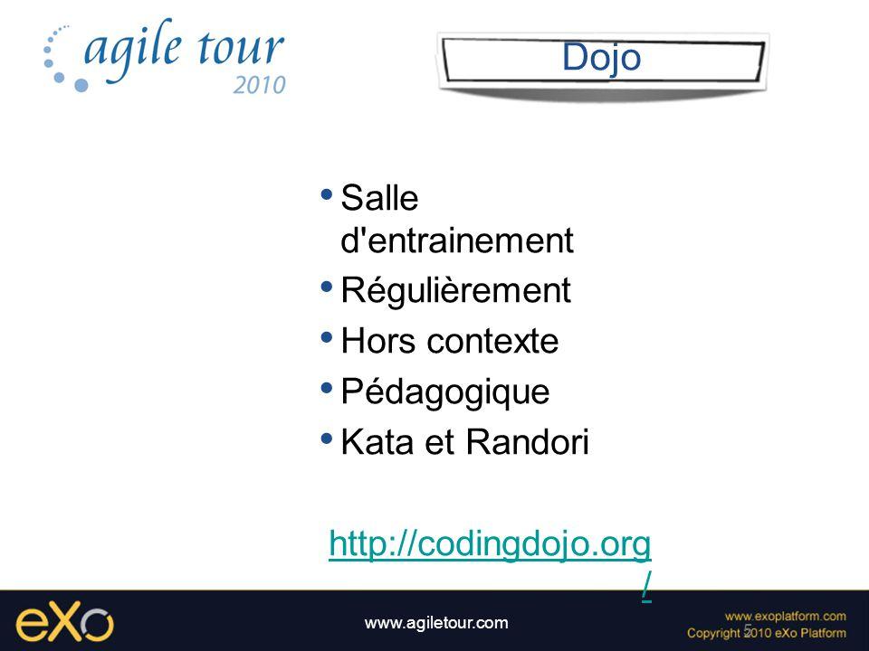 6 www.agiletour.com Kata Session préparée Feuille blanche Utilisation de TDD Expliquer chaque étape Discussions autorisées Kata ( ou littéralement: figure ) mot japonais décrivant un modèle de mouvements chorégraphiés et détaillés réalisé par une ou plusieurs personne.