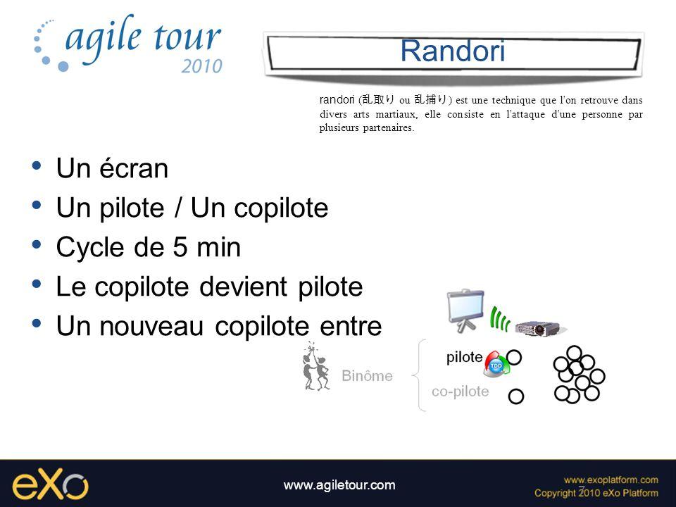 7 www.agiletour.com Randori Un écran Un pilote / Un copilote Cycle de 5 min Le copilote devient pilote Un nouveau copilote entre randori ( ou ) est un