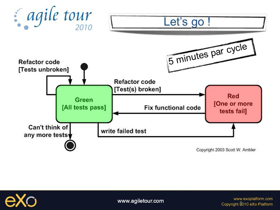 9 www.agiletour.com Dojo TDD Intérêts Apprendre TDD hors contexte Code couvert par les tests Pas de code inutile Apprendre le refactoring Partager les pratiques de développement Ludique Bon moyen de découvrir de nouvelles technologies