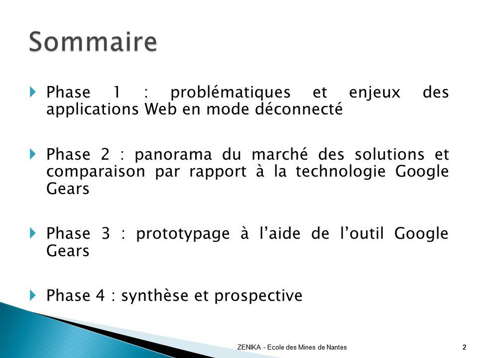 Phase 1 : problématiques et enjeux des applications Web en mode déconnecté Phase 2 : panorama du marché des solutions et comparaison par rapport à la