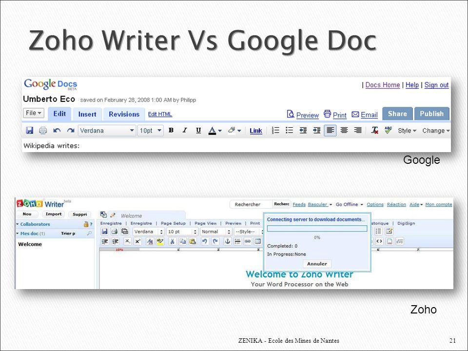 Zoho Writer Vs Google Doc ZENIKA - Ecole des Mines de Nantes Google Zoho 21