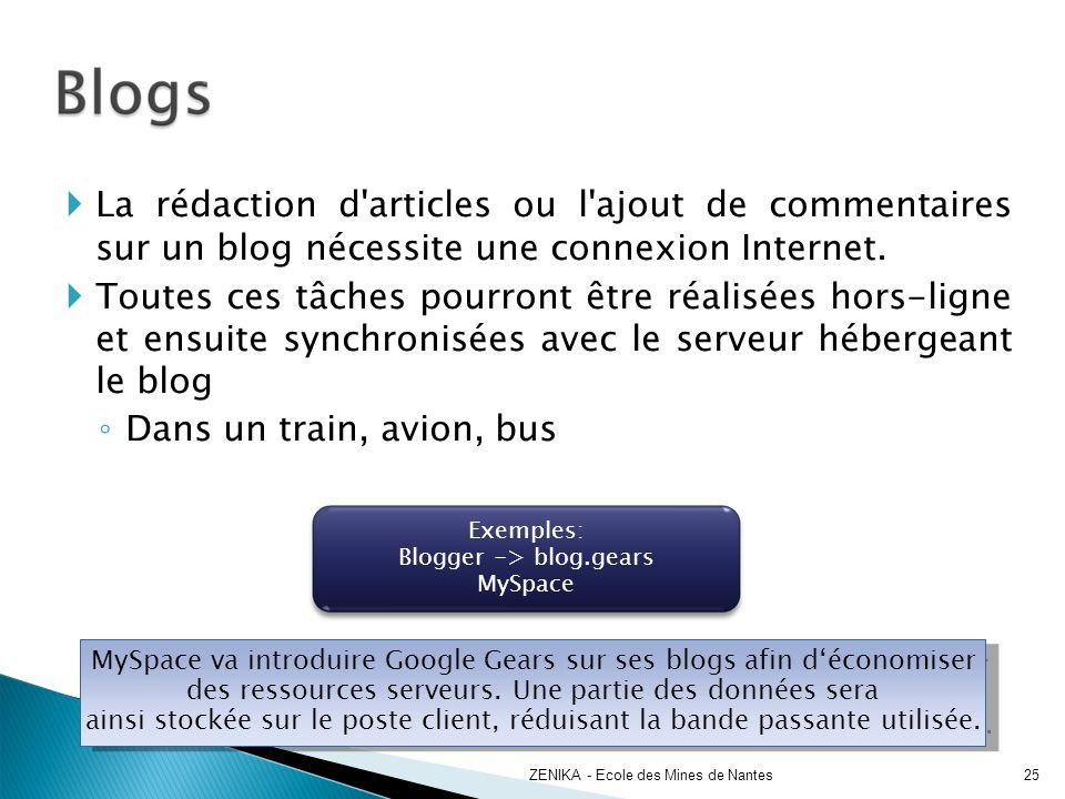 La rédaction d'articles ou l'ajout de commentaires sur un blog nécessite une connexion Internet. Toutes ces tâches pourront être réalisées hors-ligne
