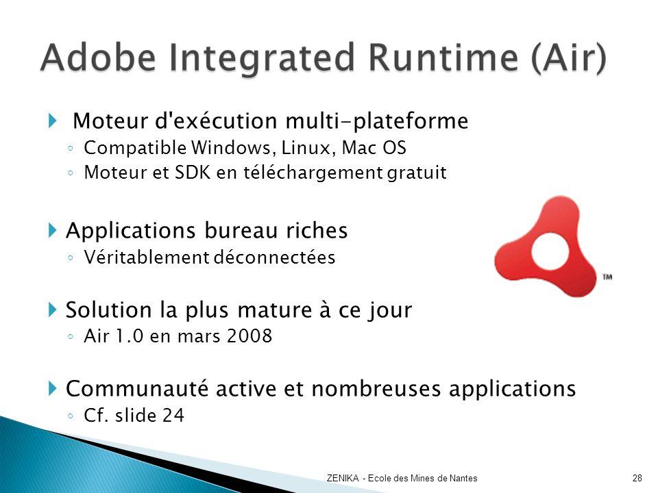 Moteur d'exécution multi-plateforme Compatible Windows, Linux, Mac OS Moteur et SDK en téléchargement gratuit Applications bureau riches Véritablement