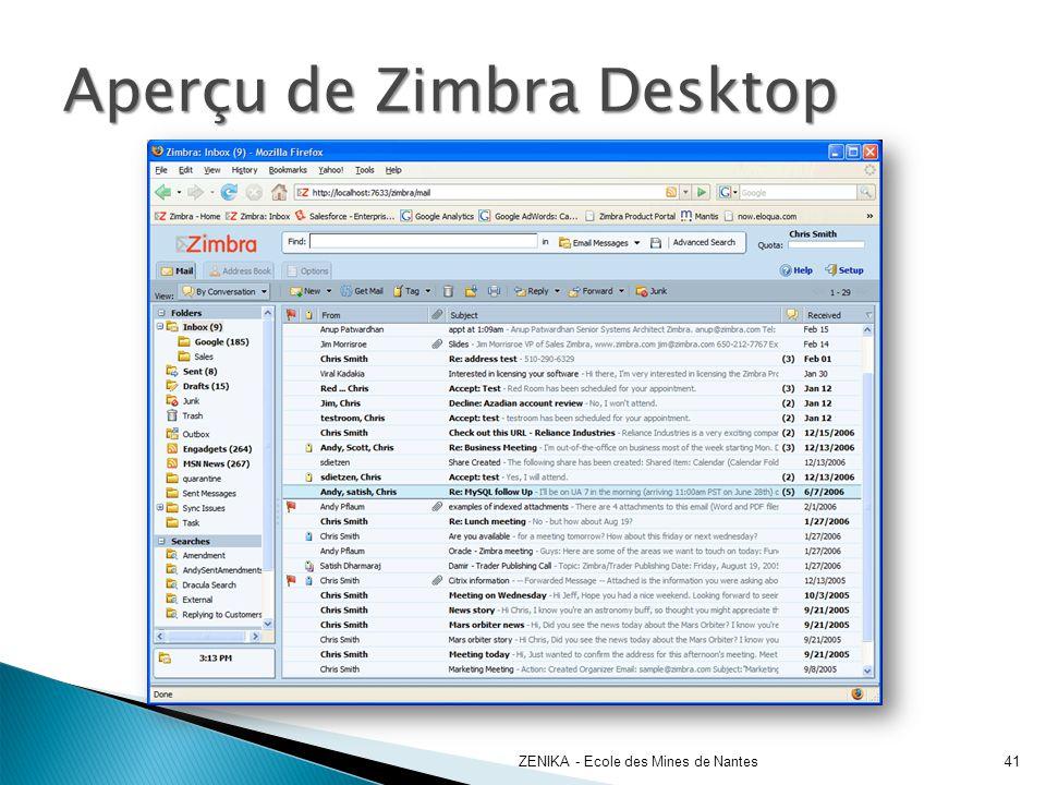 Aperçu de Zimbra Desktop ZENIKA - Ecole des Mines de Nantes41
