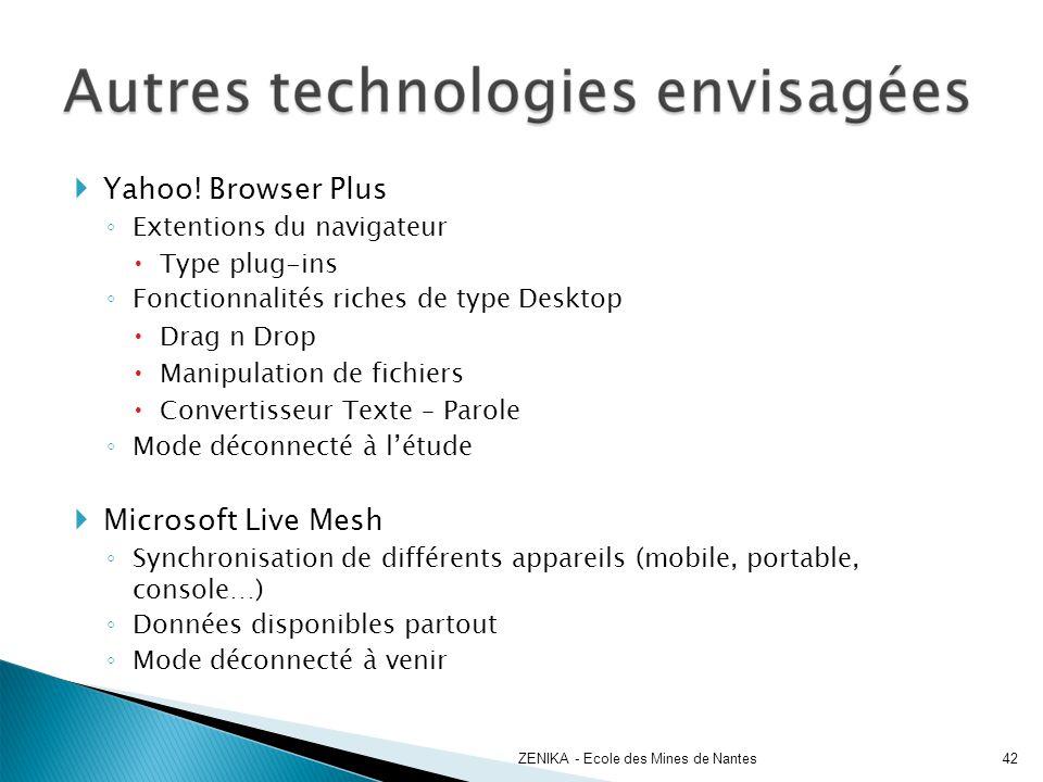 Yahoo! Browser Plus Extentions du navigateur Type plug-ins Fonctionnalités riches de type Desktop Drag n Drop Manipulation de fichiers Convertisseur T