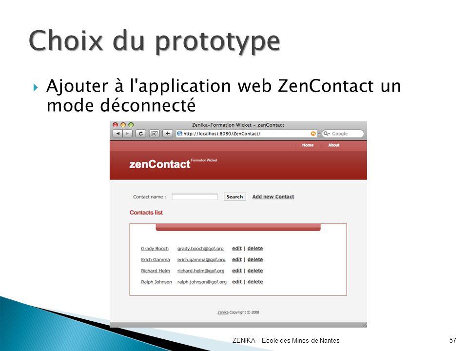 Choix du prototype ZENIKA - Ecole des Mines de Nantes57 Ajouter à l'application web ZenContact un mode déconnecté