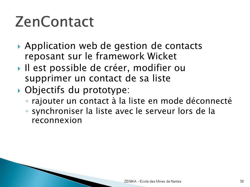 ZenContact ZENIKA - Ecole des Mines de Nantes58 Application web de gestion de contacts reposant sur le framework Wicket Il est possible de créer, modi