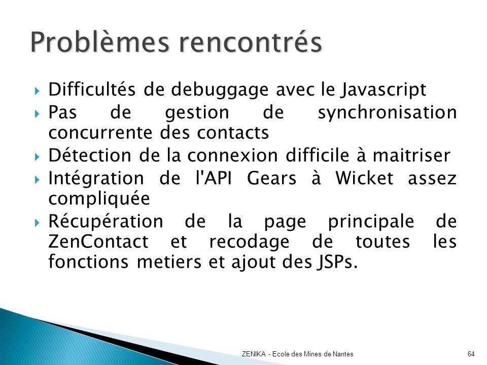 Problèmes rencontrés ZENIKA - Ecole des Mines de Nantes64 Difficultés de debuggage avec le Javascript Pas de gestion de synchronisation concurrente de