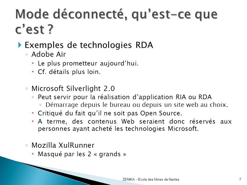 Exemples de technologies RDA Adobe Air Le plus prometteur aujourdhui. Cf. détails plus loin. Microsoft Silverlight 2.0 Peut servir pour la réalisation