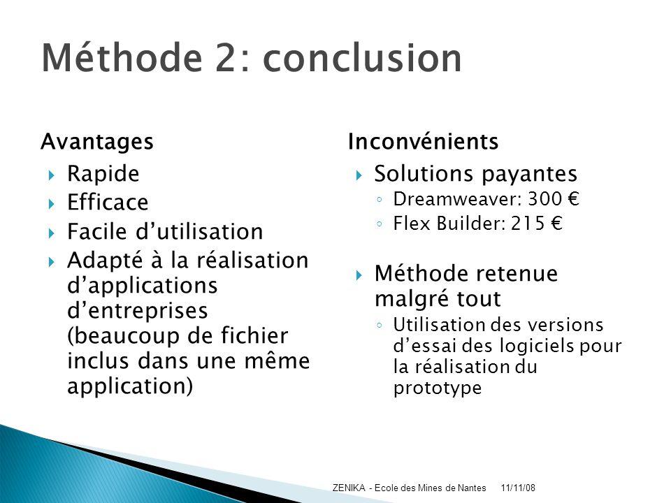 Méthode 2: conclusion Avantages Rapide Efficace Facile dutilisation Adapté à la réalisation dapplications dentreprises (beaucoup de fichier inclus dan