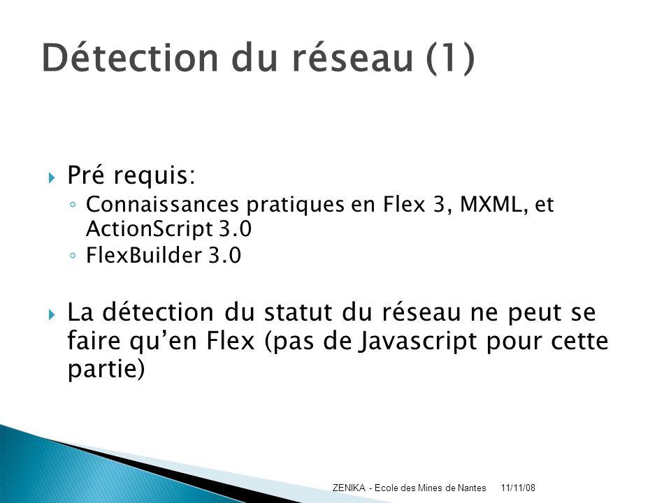 Détection du réseau (1) Pré requis: Connaissances pratiques en Flex 3, MXML, et ActionScript 3.0 FlexBuilder 3.0 La détection du statut du réseau ne p