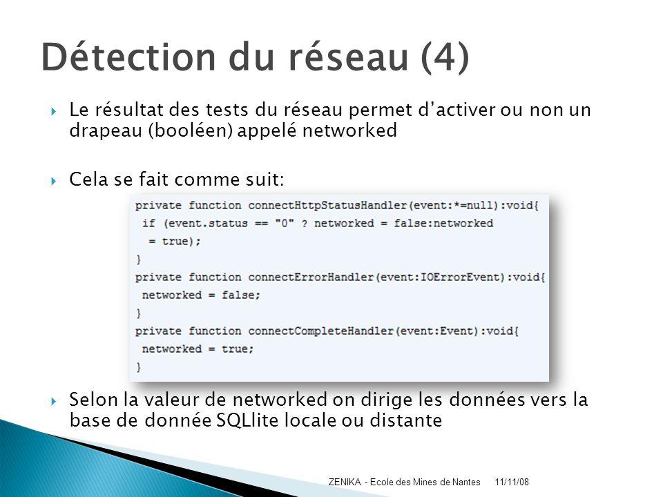 Détection du réseau (4) Le résultat des tests du réseau permet dactiver ou non un drapeau (booléen) appelé networked Cela se fait comme suit: Selon la