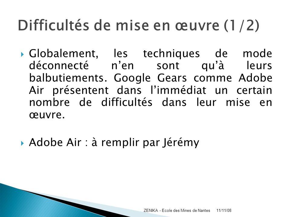 Difficultés de mise en œuvre (1/2) Globalement, les techniques de mode déconnecté nen sont quà leurs balbutiements. Google Gears comme Adobe Air prése