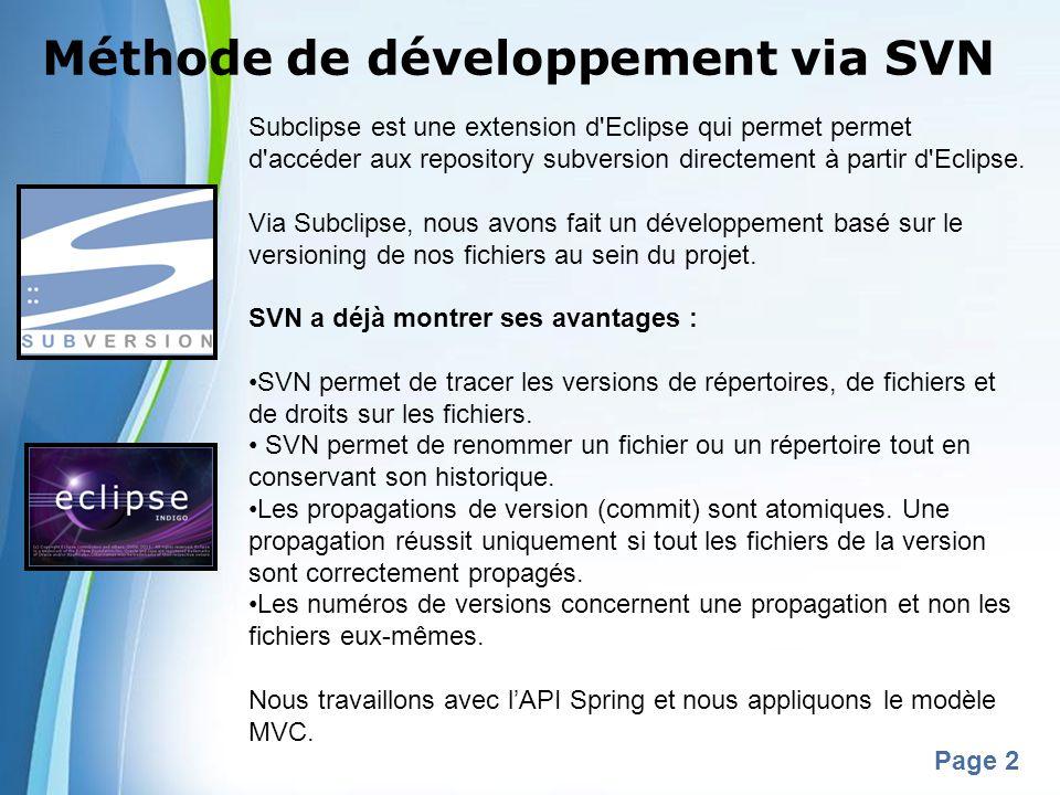 Powerpoint Templates Page 2 Méthode de développement via SVN Subclipse est une extension d'Eclipse qui permet permet d'accéder aux repository subversi