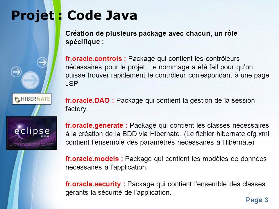 Powerpoint Templates Page 3 Projet : Code Java Création de plusieurs package avec chacun, un rôle spécifique : fr.oracle.controls : Package qui contie