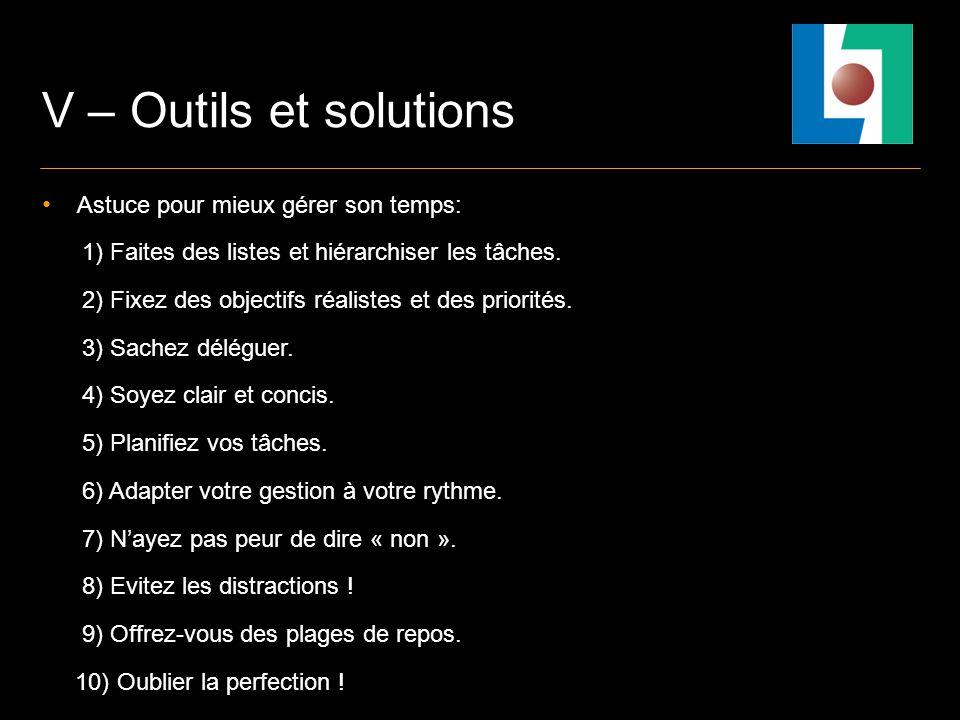 V – Outils et solutions Astuce pour mieux gérer son temps: 1) Faites des listes et hiérarchiser les tâches.