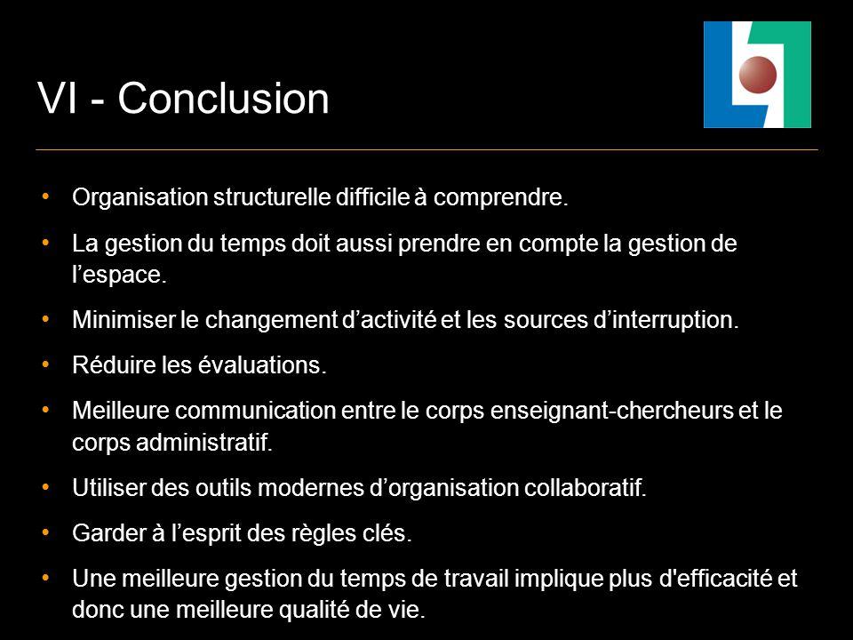 VI - Conclusion Organisation structurelle difficile à comprendre.