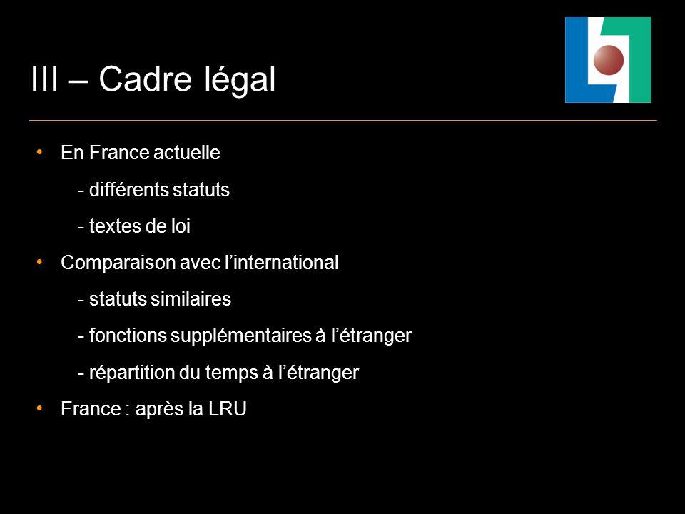 III – Cadre légal En France actuelle - différents statuts - textes de loi Comparaison avec linternational - statuts similaires - fonctions supplémentaires à létranger - répartition du temps à létranger France : après la LRU