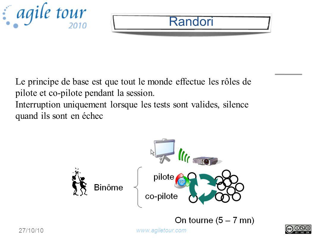 www.agiletour.com 27/10/10 Le principe de base est que tout le monde effectue les rôles de pilote et co-pilote pendant la session.
