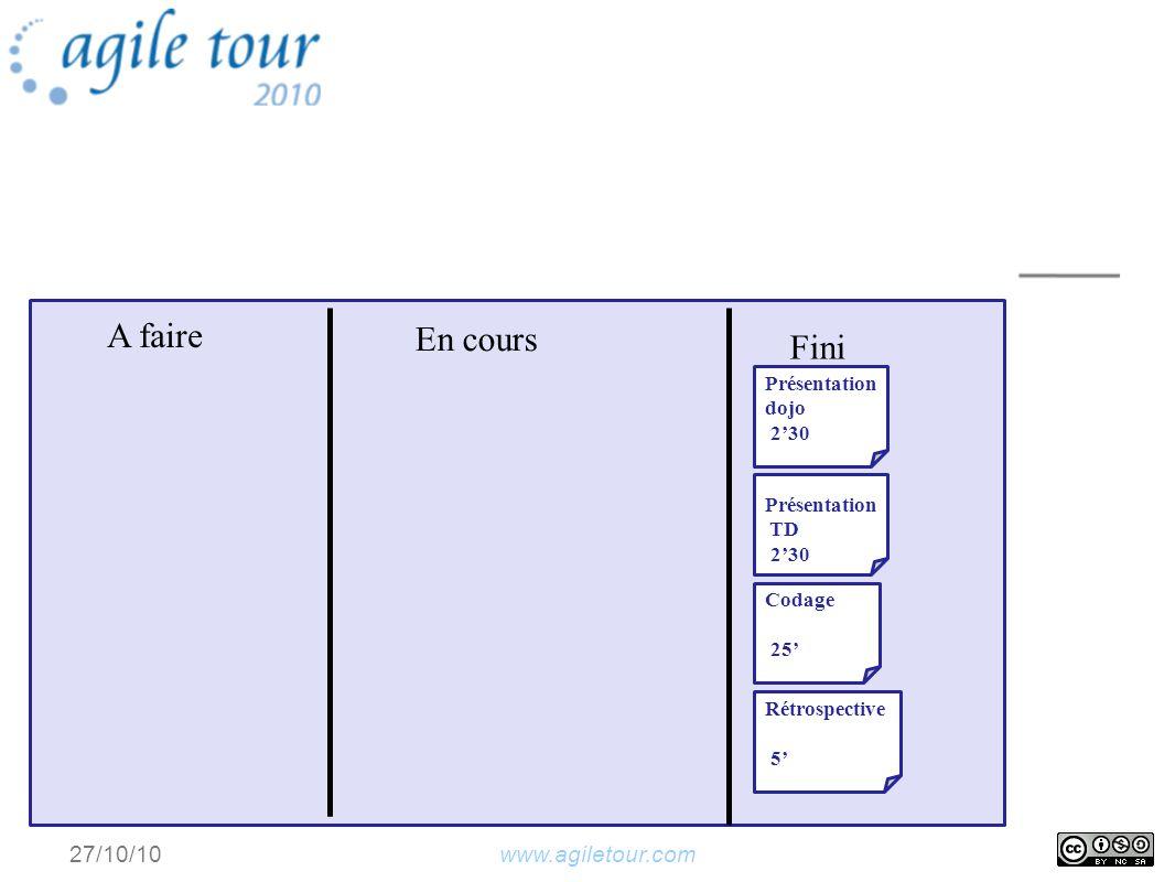 www.agiletour.com27/10/10 A faire En cours Fini Présentation dojo 230 Présentation TD 230 Codage 25 Rétrospective 5
