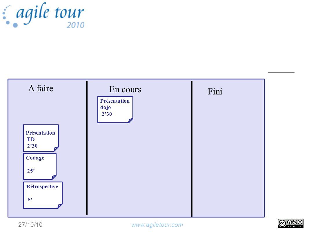 www.agiletour.com 27/10/10 A faire En cours Fini Présentation dojo 230 Présentation TD 230 Codage 25 Rétrospective 5