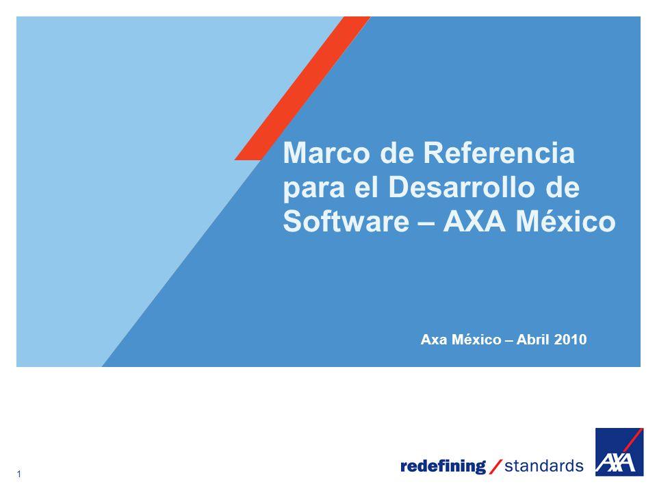 1 Encombrement maximum du logotype depuis le bord inférieur droit de la page (logo placé à 1/3X du bord; X = logotype) Marco de Referencia para el Desarrollo de Software – AXA México Axa México – Abril 2010