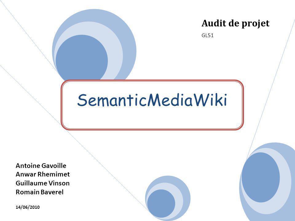 SemanticMediaWiki Audit de projet GL51 Antoine Gavoille Anwar Rhemimet Guillaume Vinson Romain Baverel 14/06/2010