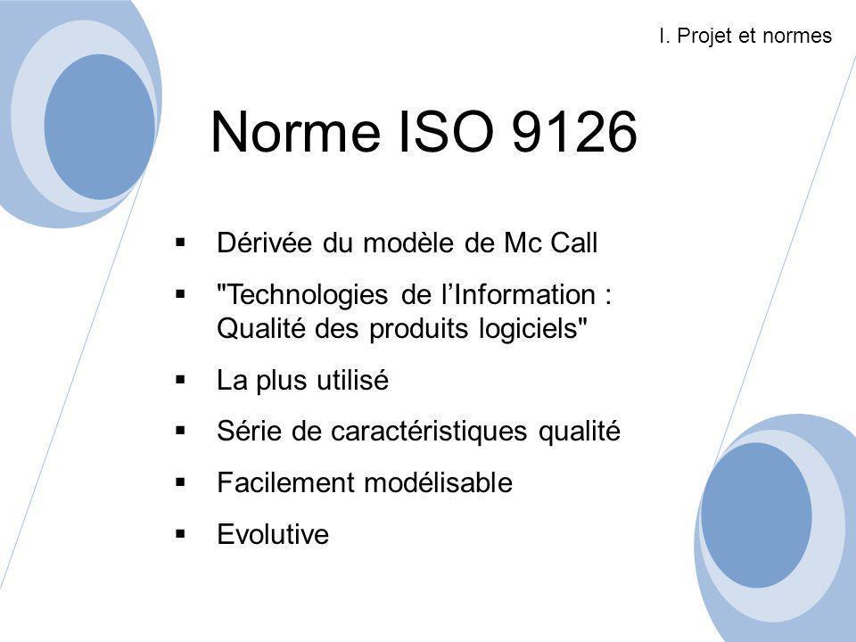 Norme ISO 9126 Dérivée du modèle de Mc Call