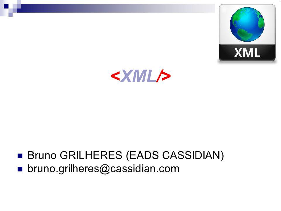 XML - Schéma Une spécification du W3C (2001) pour lécriture de règles de validation XML Specification : http://www.w3.org/XML/Schema Est lui même exprimé en XML (… Metalanguage …) XML Schéma permettent de spécifier des types de données (restrictions sur les chaînes de caractères, sur des intervalles de nombres) Ne permet pas de définir des entités comme dans les DTD.