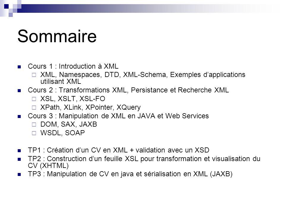 Introduction à XML Objectif et Historique Les bases dXML Validation XML DTD XML Schema Autres approches (RELAX-NG, Schematron) Quelques utilisations dXML XHTML Ant/Maven Spring IOC GraphML et SVG OpenDocument