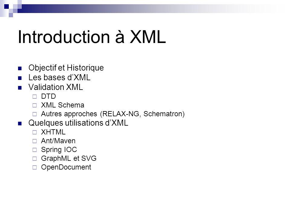 XML « Buildings Blocks » En tête Une déclaration: version [, encoding, standalone] Une DTD optionnelle (Document Type Definition ) (standalone = no) Element Délimités par des chevrons Identifie la nature des éléments quils encadrent Format classique : … Elément vide: Attribut Couple clé-valeur à lintérieur dun élément Quelques règles de syntaxe : Tous les éléments doivent être fermés Les balises sont dépendantes de la casse Tous les documents XML doivent avoir un élément racine Les valeurs des attributs doivents être entre guillemets Les balises ne doivent pas se chevaucher
