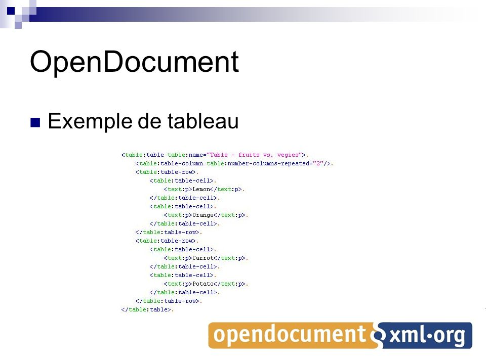 OpenDocument Exemple de tableau