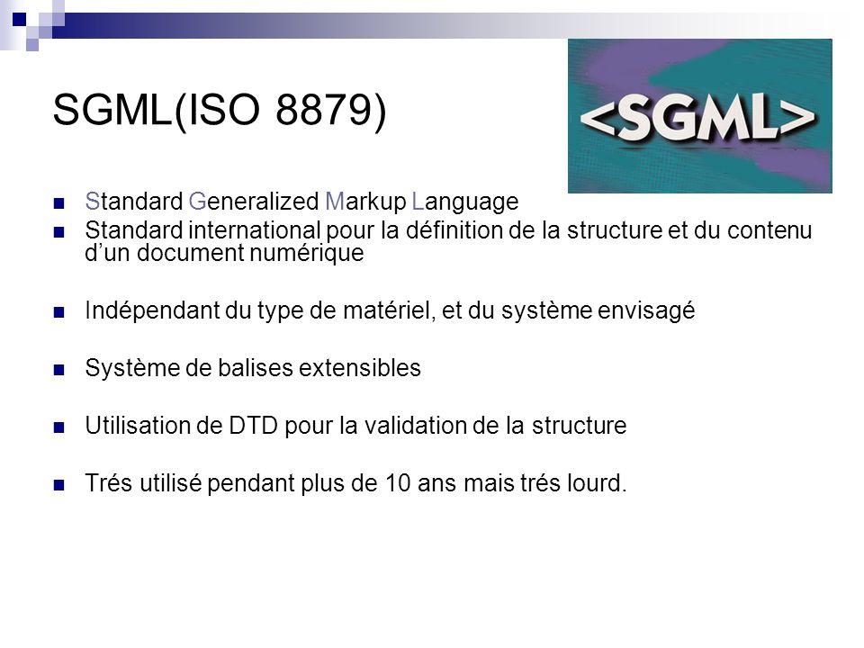 HTML(RFC 1866) HyperText Markup Language Sous ensemble de SGML utilisé pour la présentation dinformations sur le Web Utilisation dun vocabulaire de balises restreint