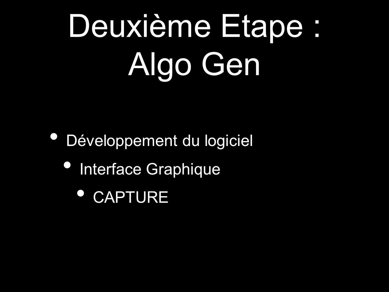 Deuxième Etape : Algo Gen Développement du logiciel Interface Graphique CAPTURE