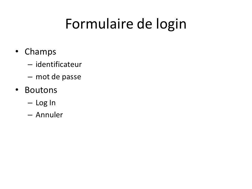 Formulaire de login Champs – identificateur – mot de passe Boutons – Log In – Annuler
