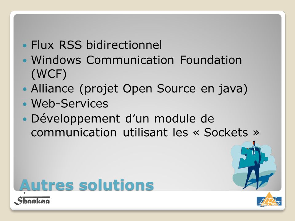 Autres solutions Flux RSS bidirectionnel Windows Communication Foundation (WCF) Alliance (projet Open Source en java) Web-Services Développement dun m