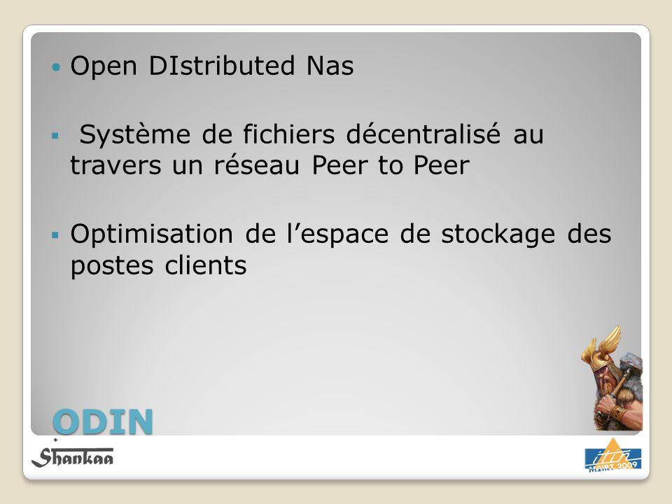 Open DIstributed Nas Système de fichiers décentralisé au travers un réseau Peer to Peer Optimisation de lespace de stockage des postes clients ODIN