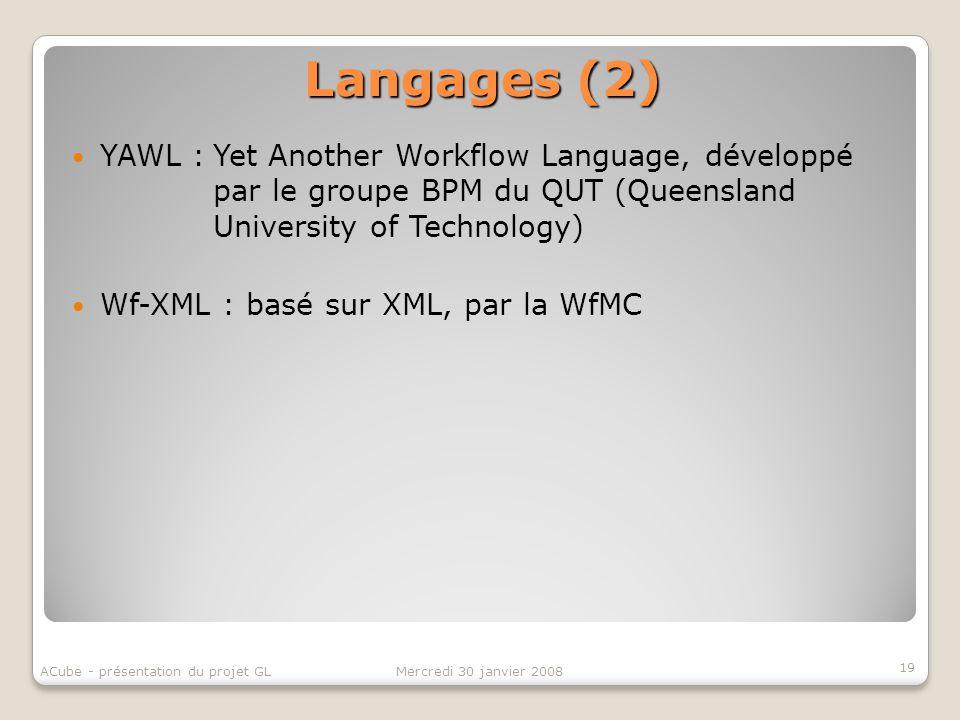 Langages (2) YAWL :Yet Another Workflow Language, développé par le groupe BPM du QUT (Queensland University of Technology) Wf-XML : basé sur XML, par