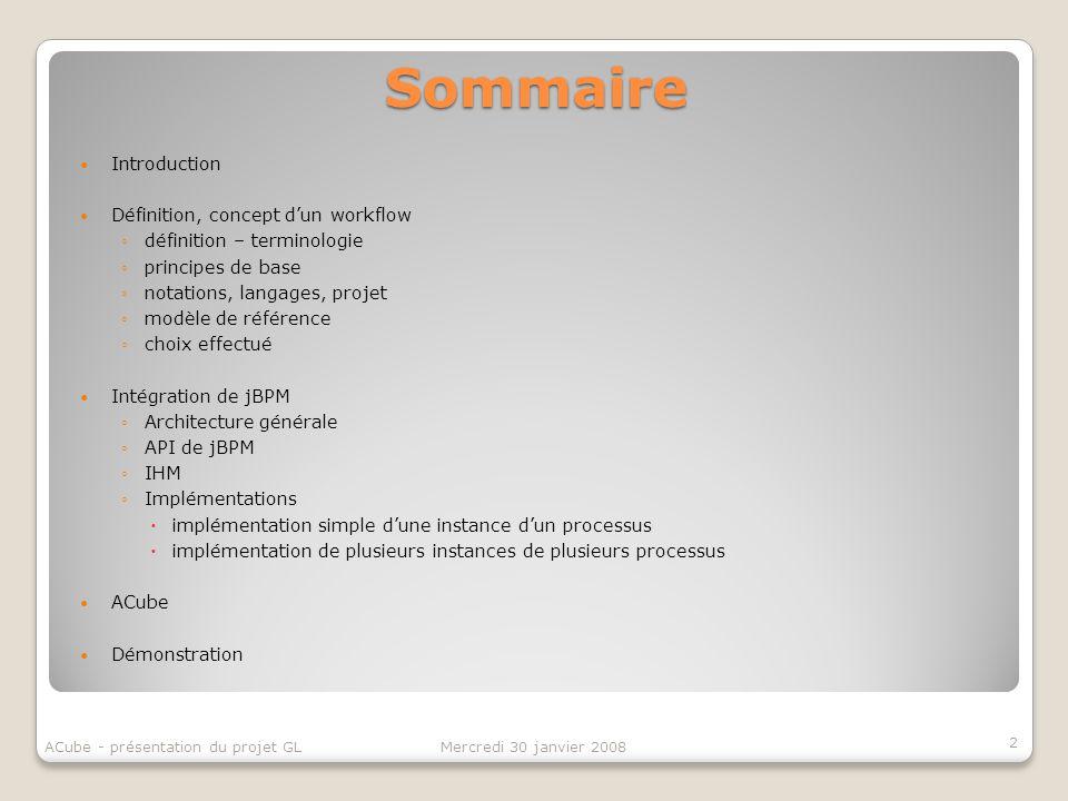 Sommaire Introduction Définition, concept dun workflow définition – terminologie principes de base notations, langages, projet modèle de référence cho