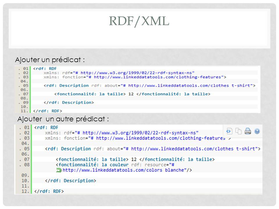 RDF/XML Ajouter un prédicat : Ajouter un autre prédicat :