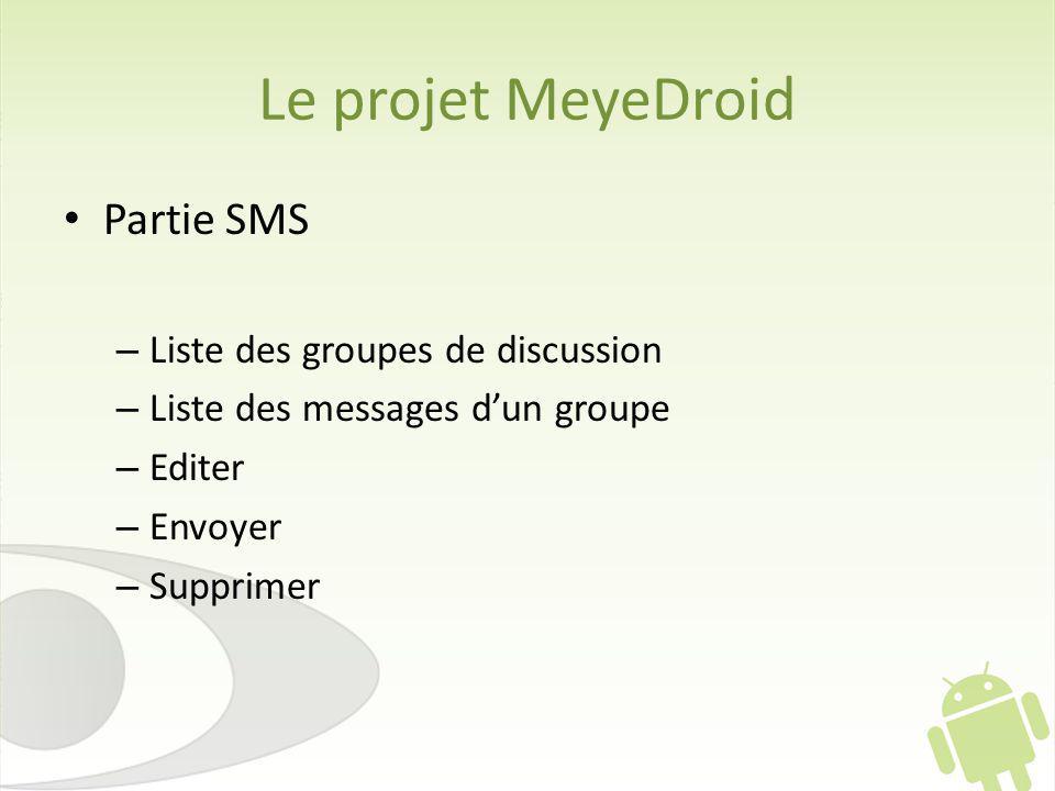 Le projet MeyeDroid Partie SMS – Liste des groupes de discussion – Liste des messages dun groupe – Editer – Envoyer – Supprimer