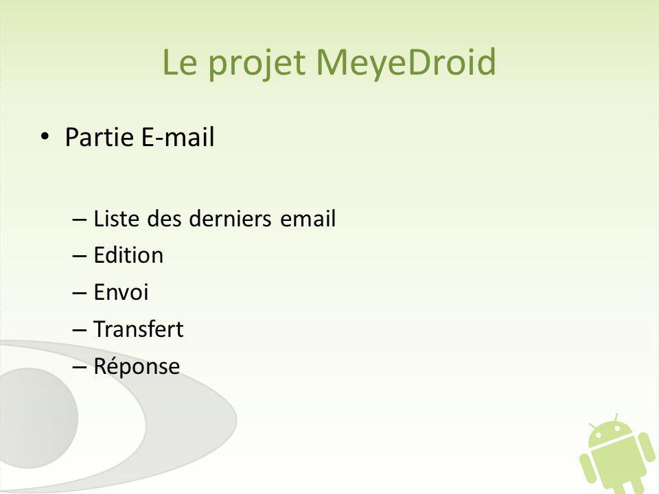 Le projet MeyeDroid Partie E-mail – Liste des derniers email – Edition – Envoi – Transfert – Réponse