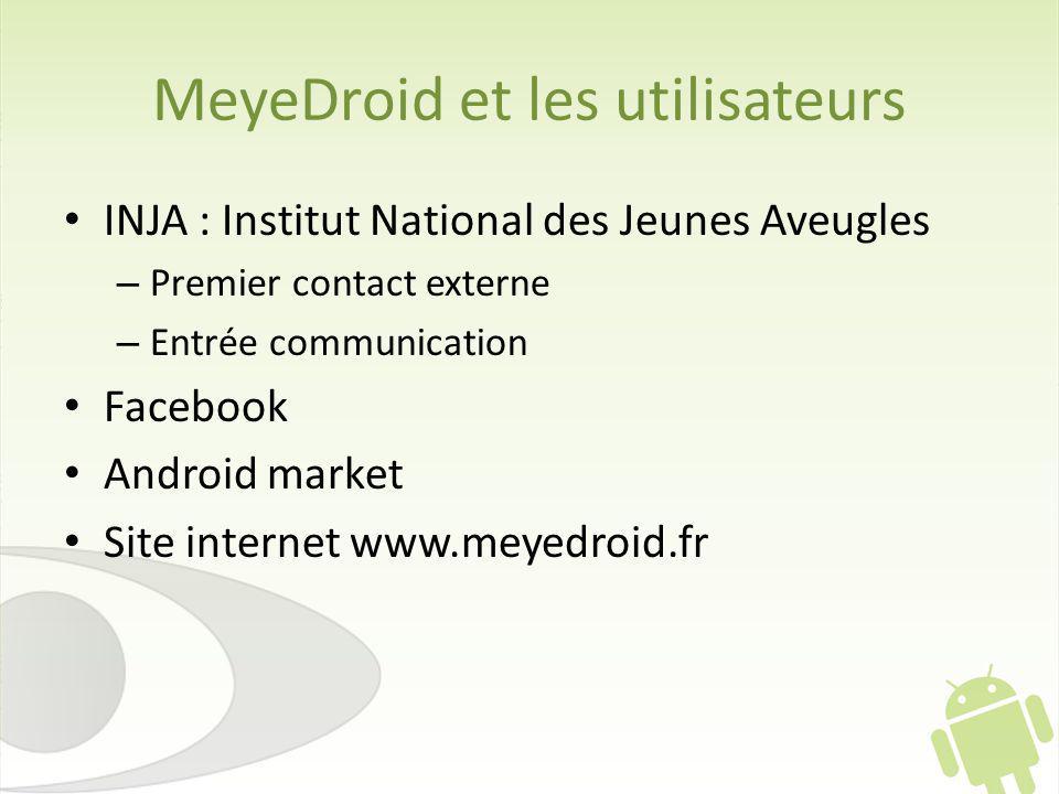 MeyeDroid et les utilisateurs INJA : Institut National des Jeunes Aveugles – Premier contact externe – Entrée communication Facebook Android market Site internet www.meyedroid.fr