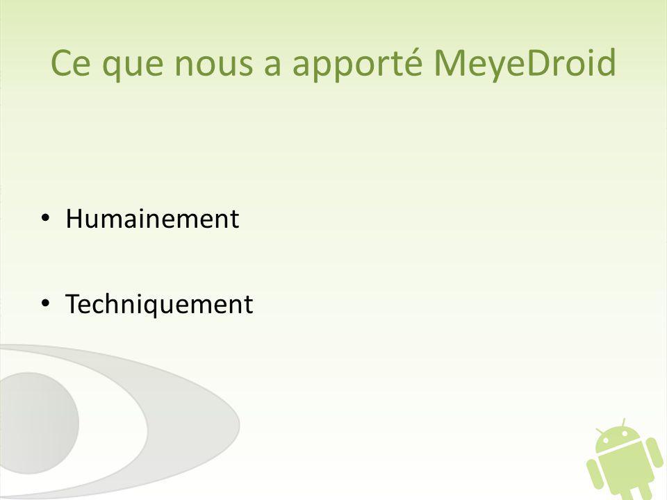 Ce que nous a apporté MeyeDroid Humainement Techniquement