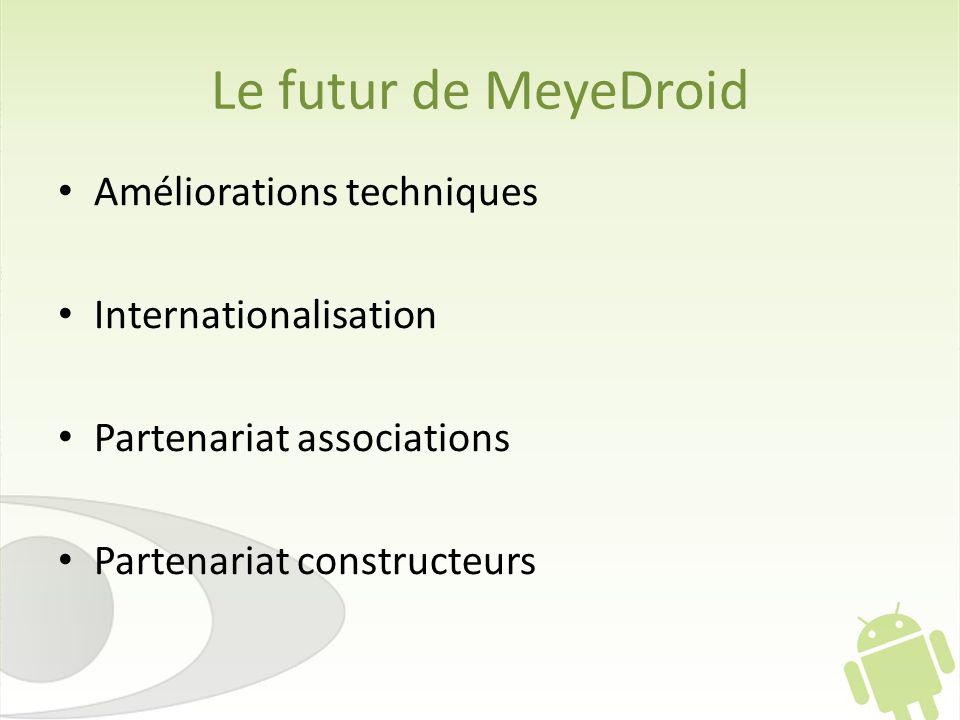Le futur de MeyeDroid Améliorations techniques Internationalisation Partenariat associations Partenariat constructeurs