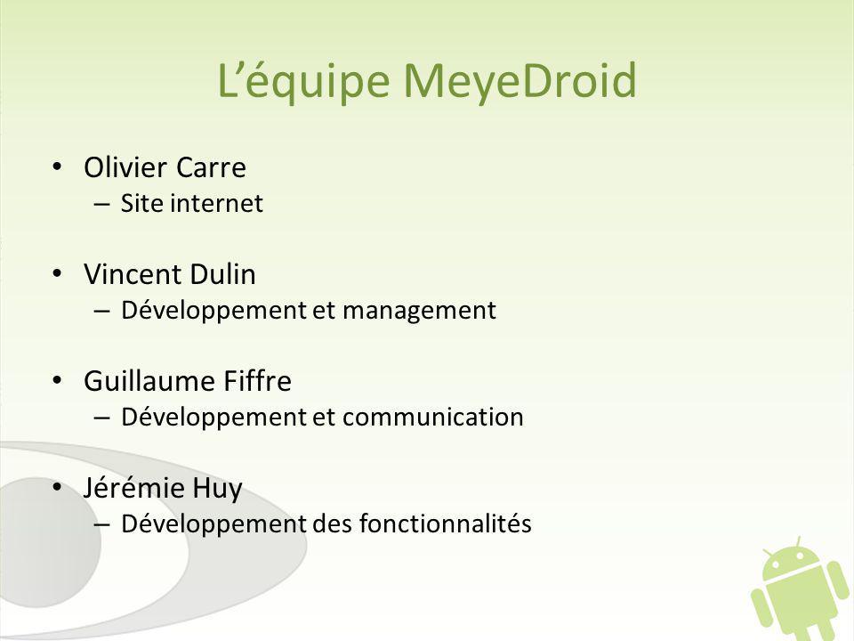 Léquipe MeyeDroid Olivier Carre – Site internet Vincent Dulin – Développement et management Guillaume Fiffre – Développement et communication Jérémie