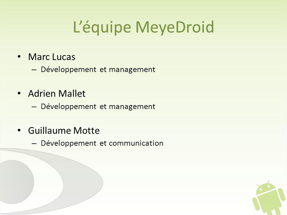 Léquipe MeyeDroid Marc Lucas – Développement et management Adrien Mallet – Développement et management Guillaume Motte – Développement et communication