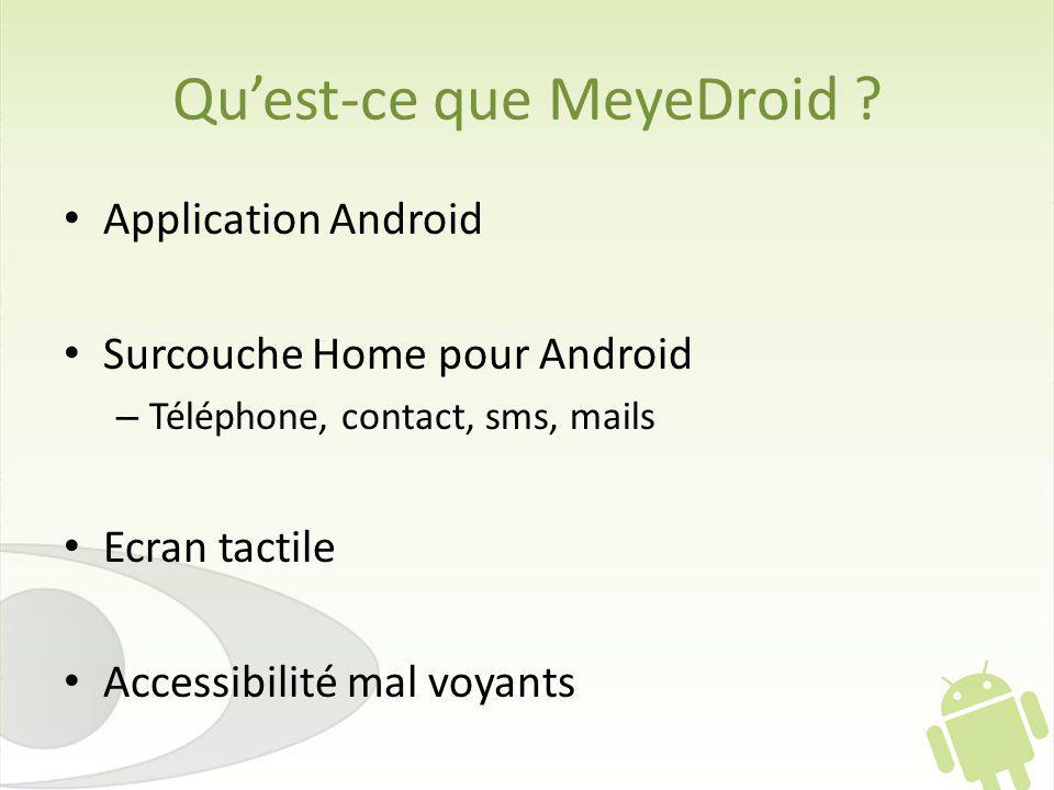 Quest-ce que MeyeDroid ? Application Android Surcouche Home pour Android – Téléphone, contact, sms, mails Ecran tactile Accessibilité mal voyants