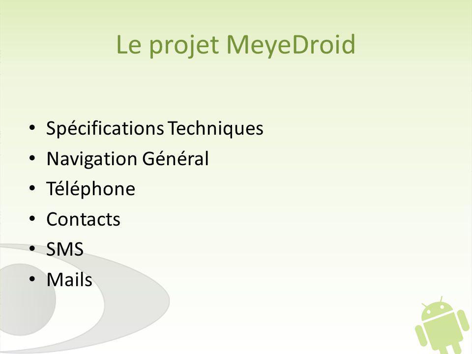 Le projet MeyeDroid Spécifications Techniques Navigation Général Téléphone Contacts SMS Mails